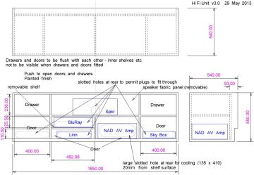 TV cabinet design drawing