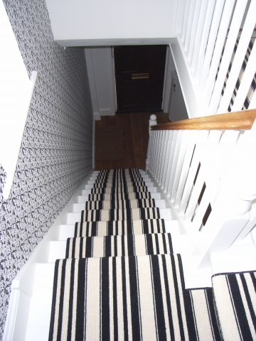 monochrome striped stair carpet