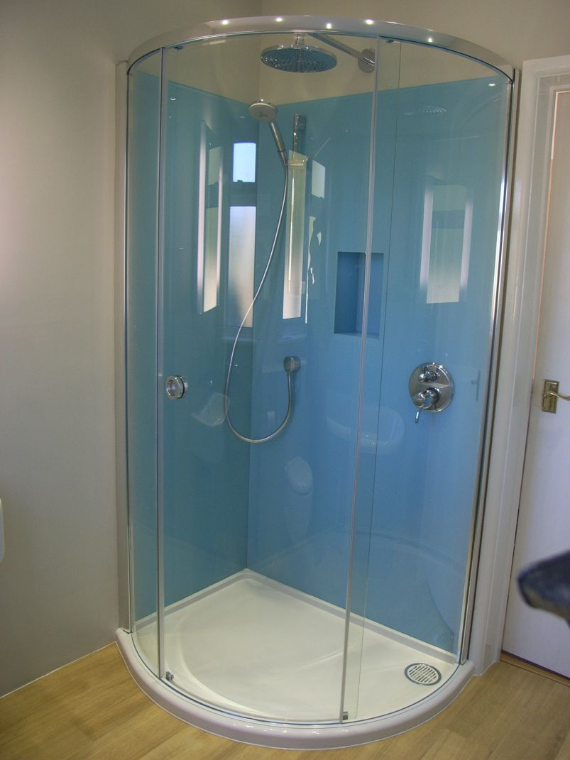 painted glass shower enclosure