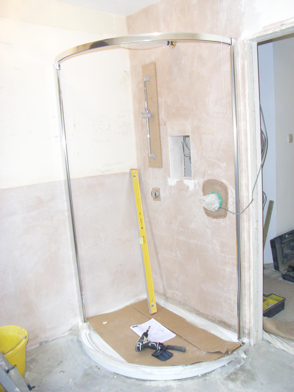 shower being installed