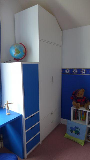 teenager's bedroom storage and desk