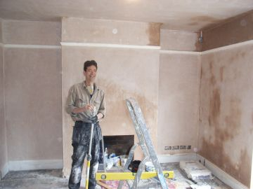 stripped walls replastered