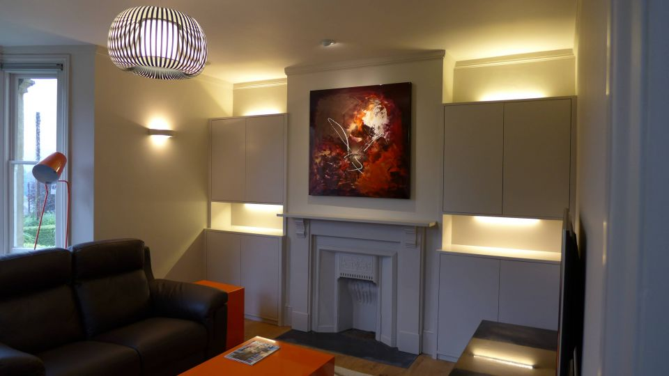 Victorian Property Renovation in Bath - here, the living room with decorative lighting