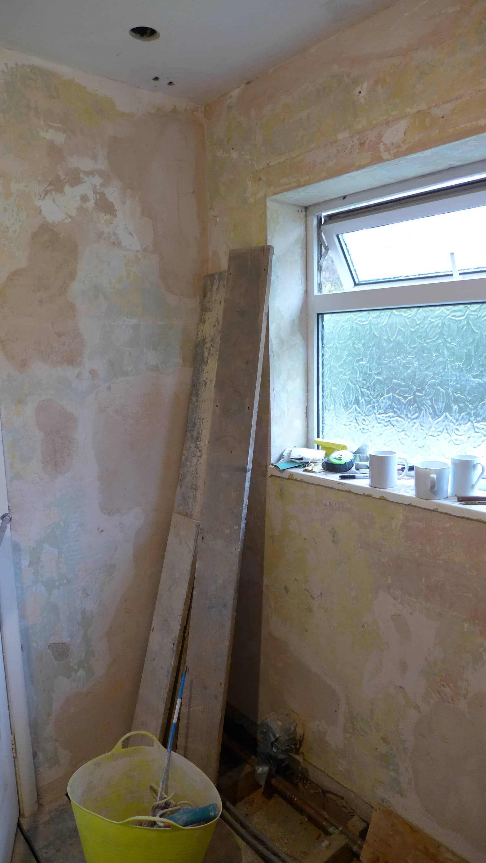 bathroom walls replastered