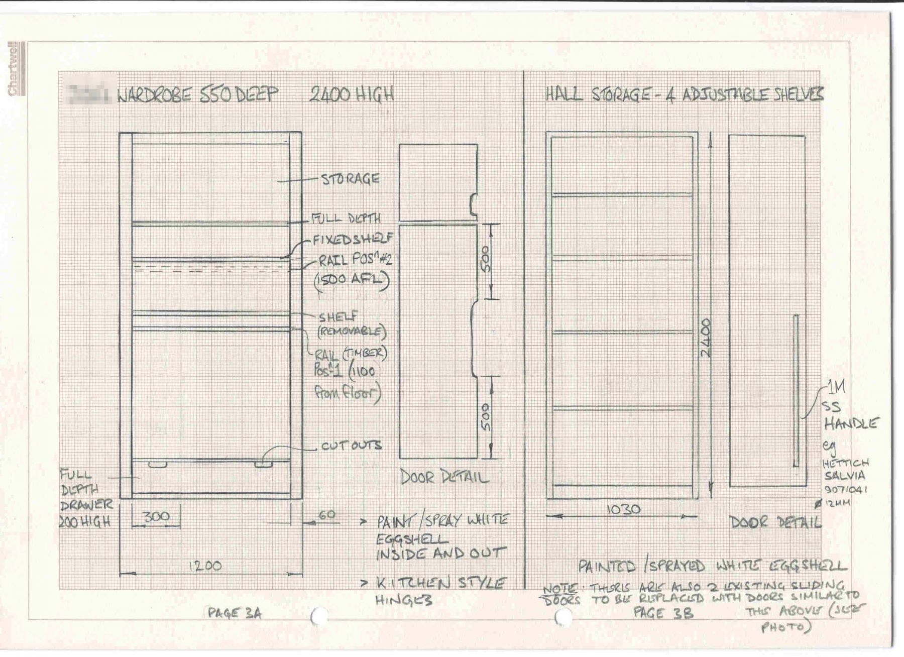 design drawings for bespoke wardrobes