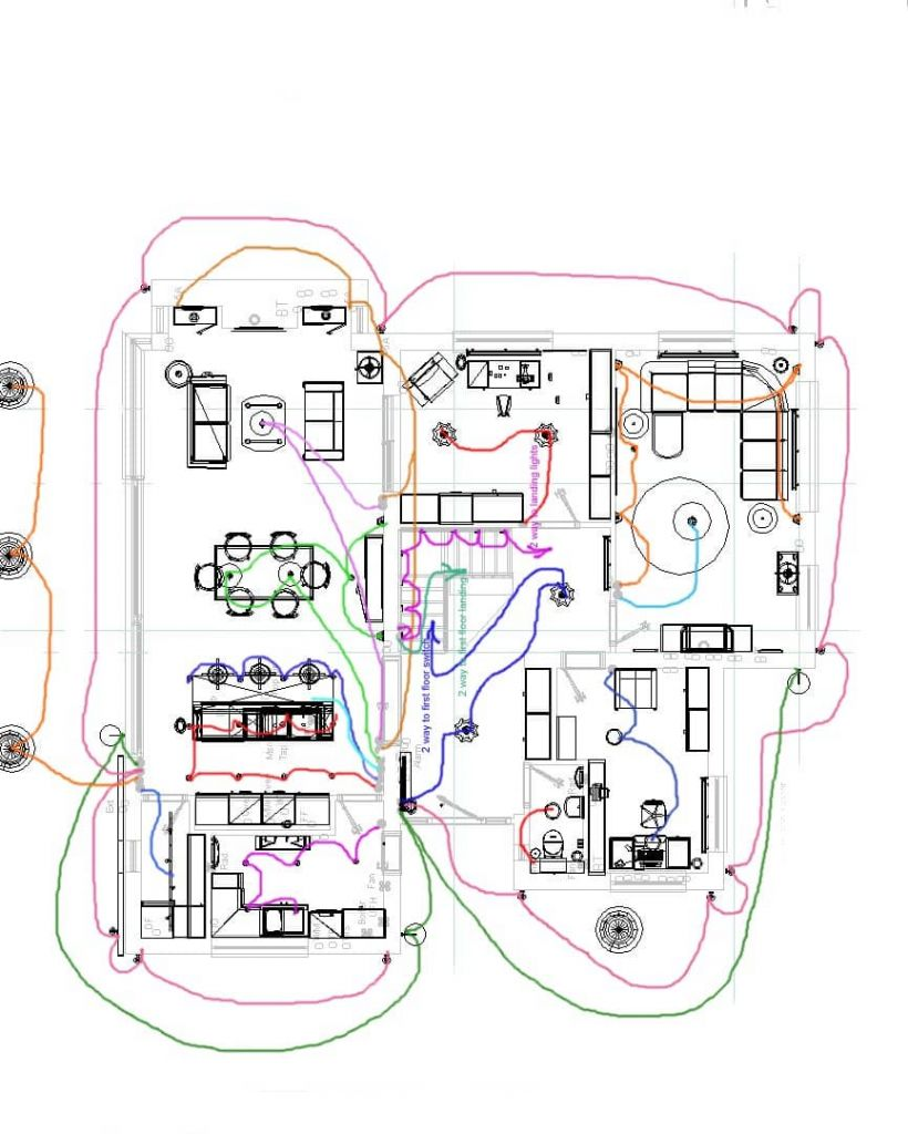 home lighting electrics schematic drawing