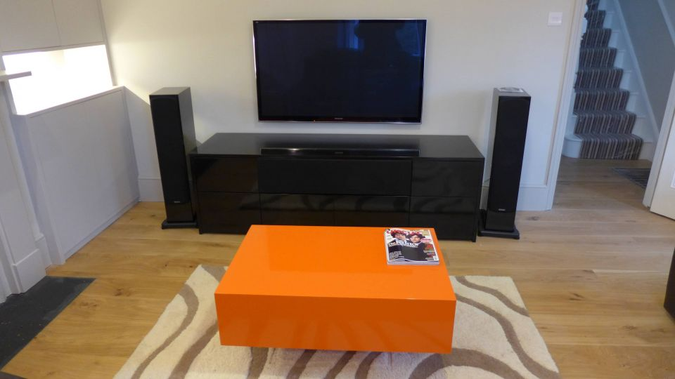 bespoke gloss black TV and hifi cabinet