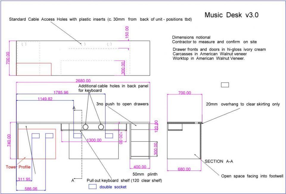 music desk design drawing