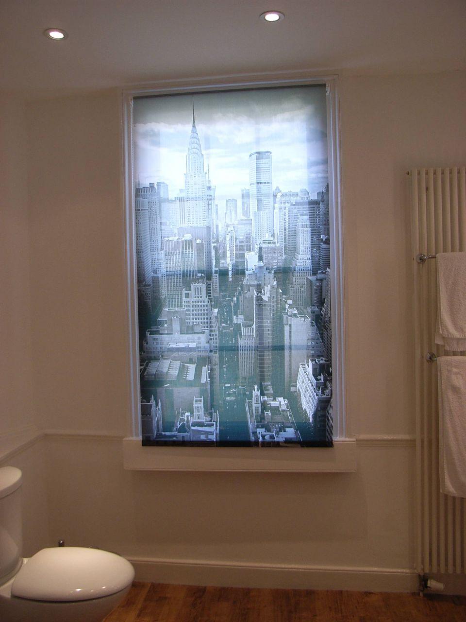 photograph on window blind