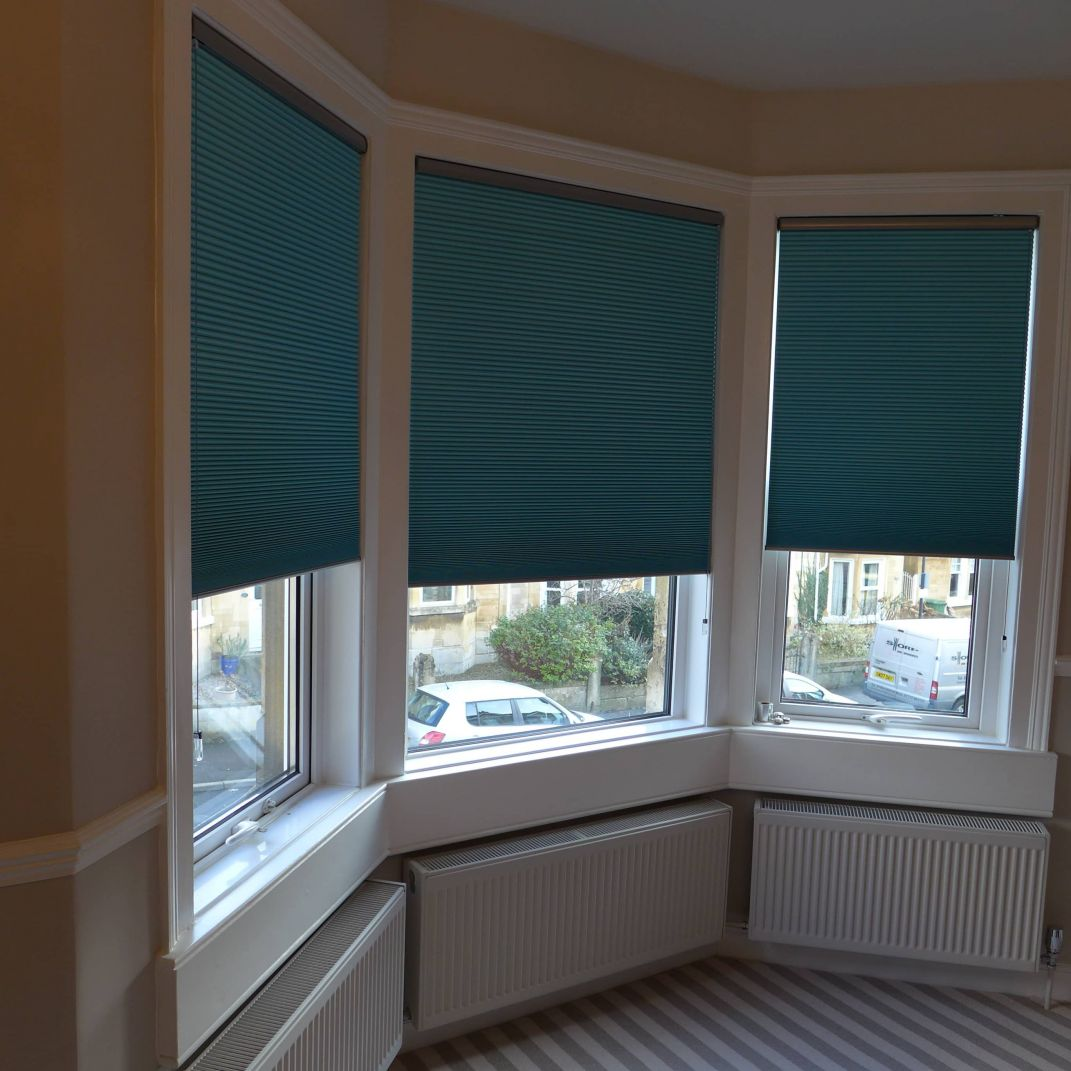 pleated blinds in bay