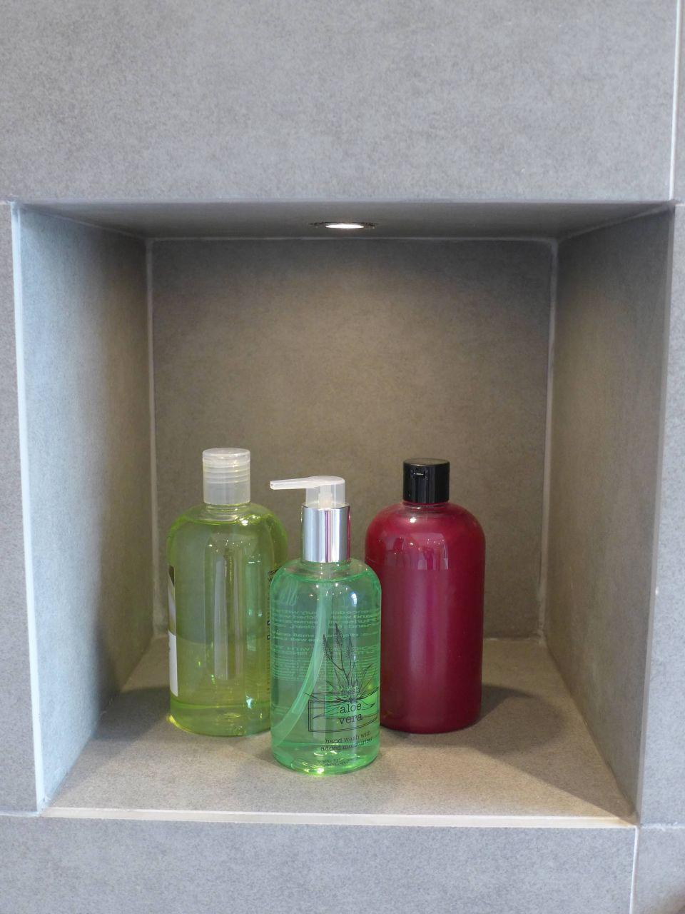 shower niche with light
