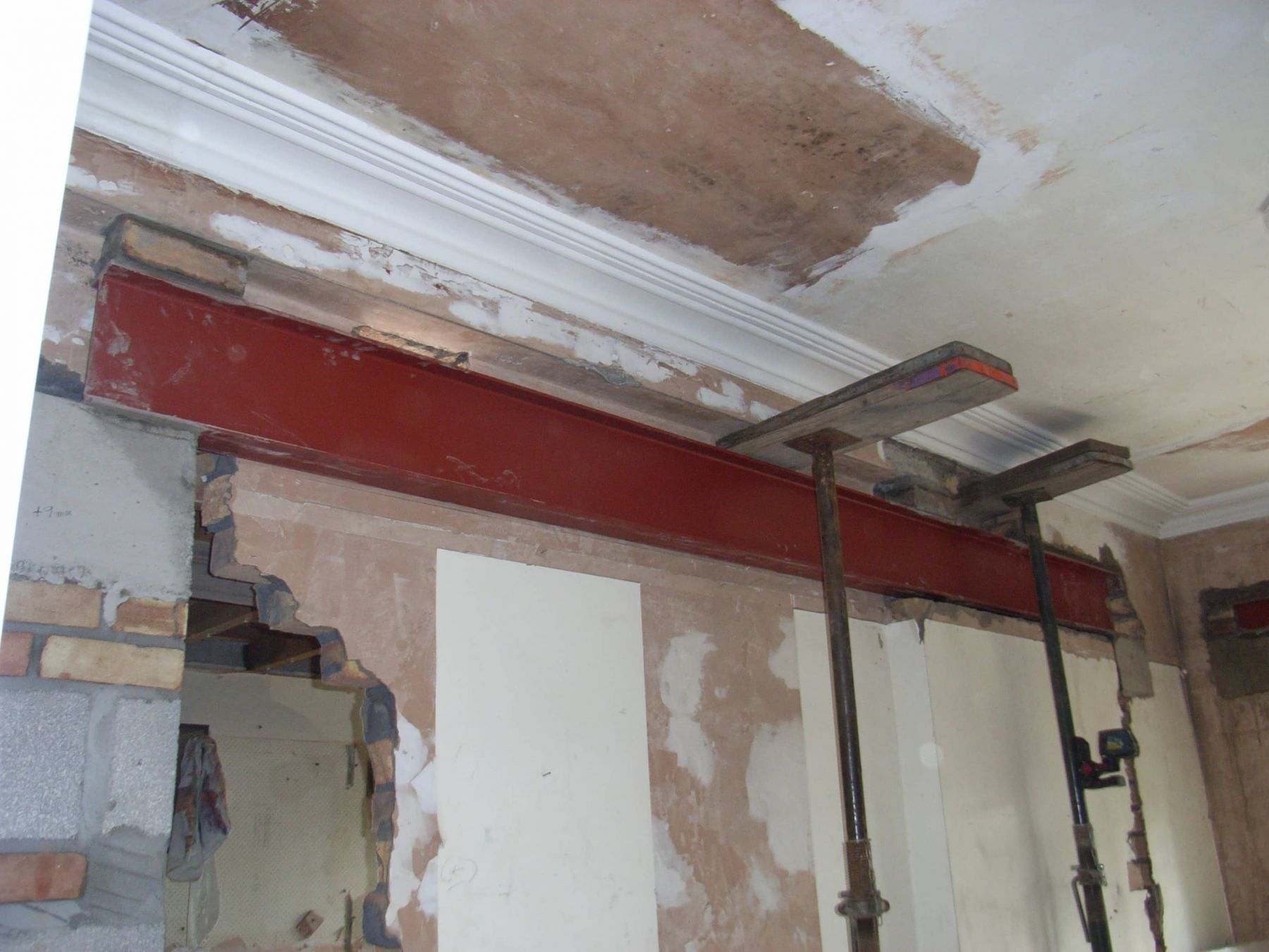 steel support before knock through
