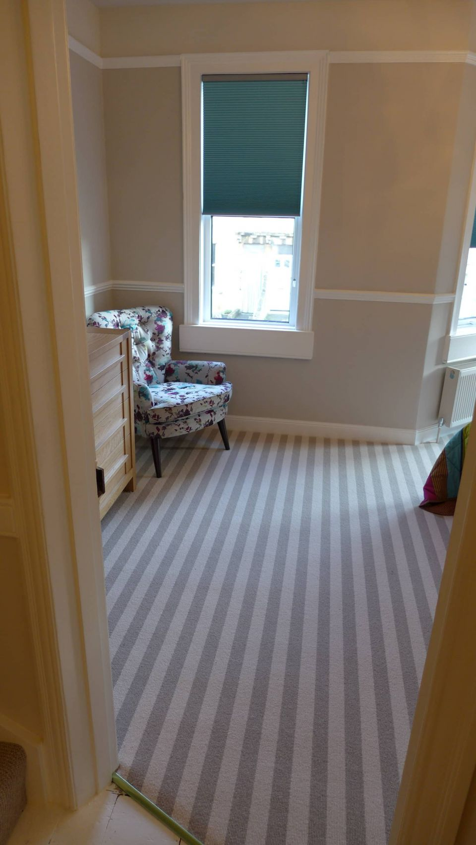 stripy bedroom carpet
