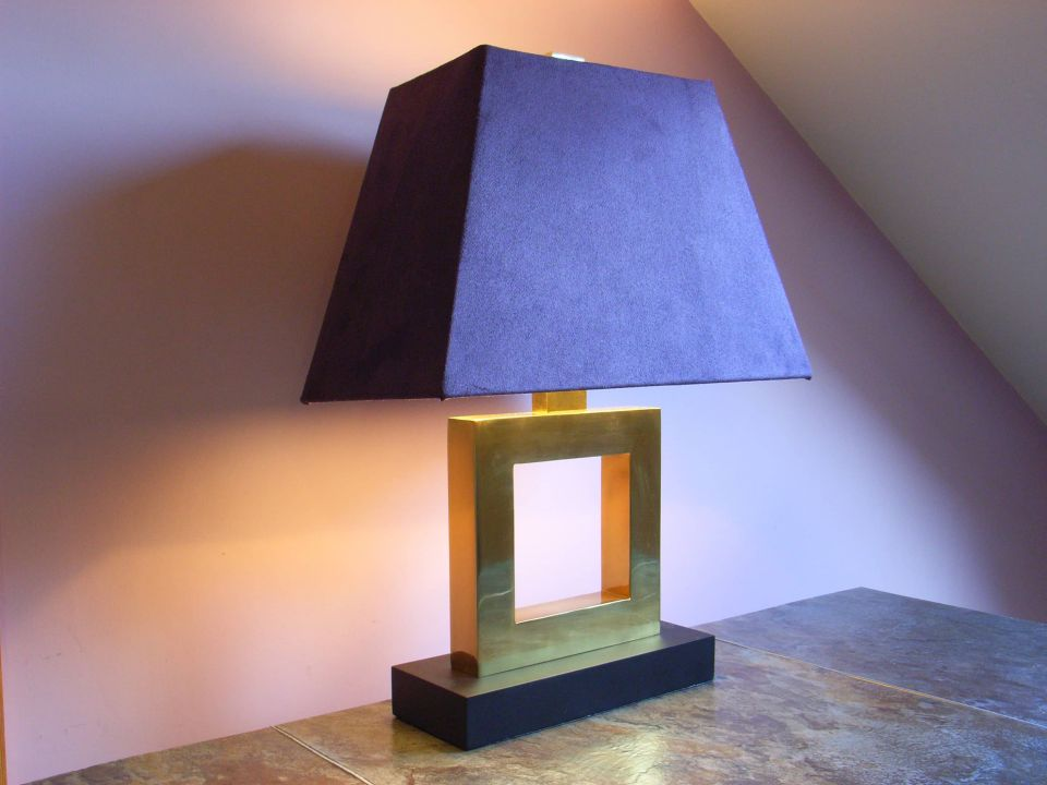 table lamp with purple shade