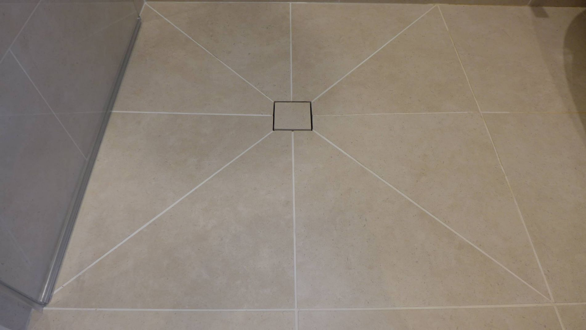 tiled wet room and drain