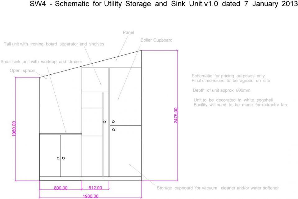 utility cupboard design drawing