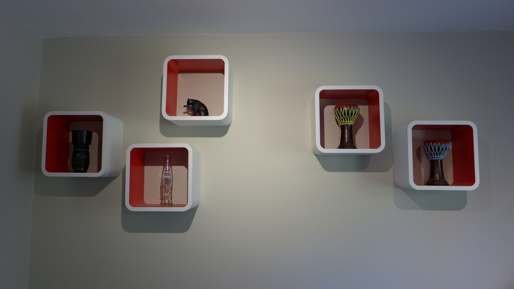array of box shelves