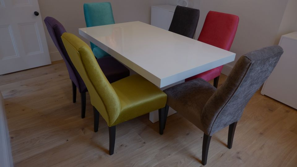 gloss white dining table with colourful fabric dining chairs