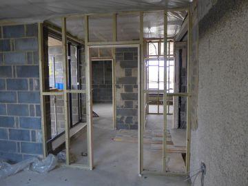 new build constructing first floor landing