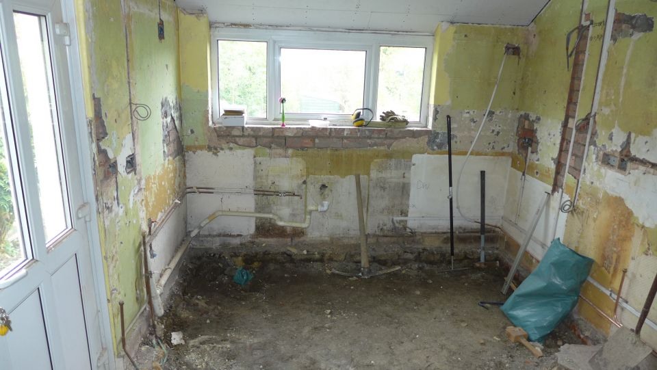 kitchen ripped out by building contractors in Bath