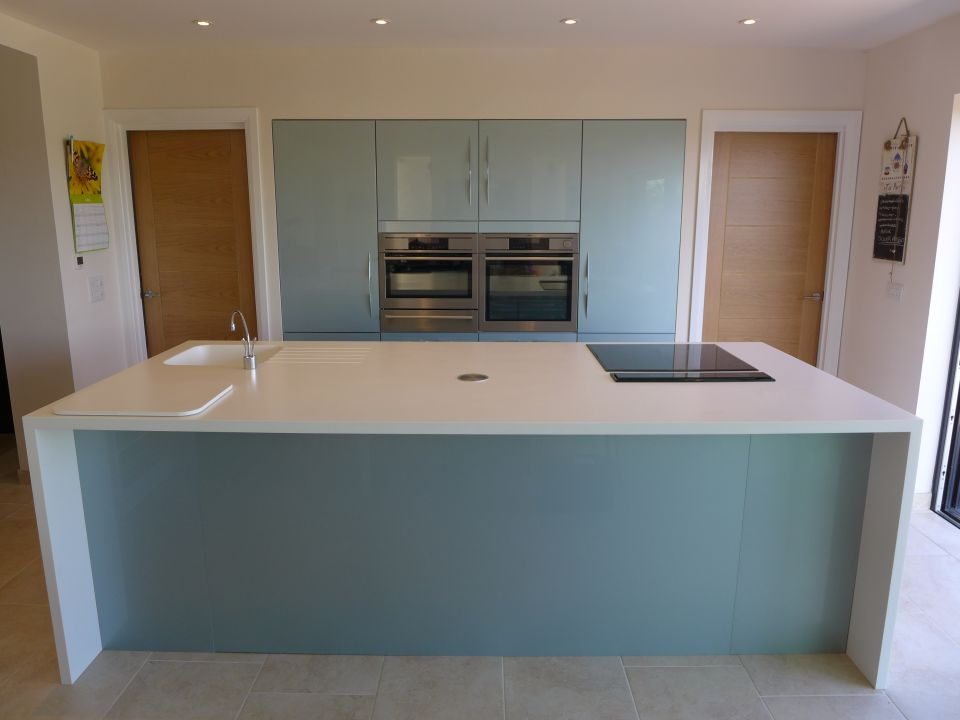 ice blue kitchen units