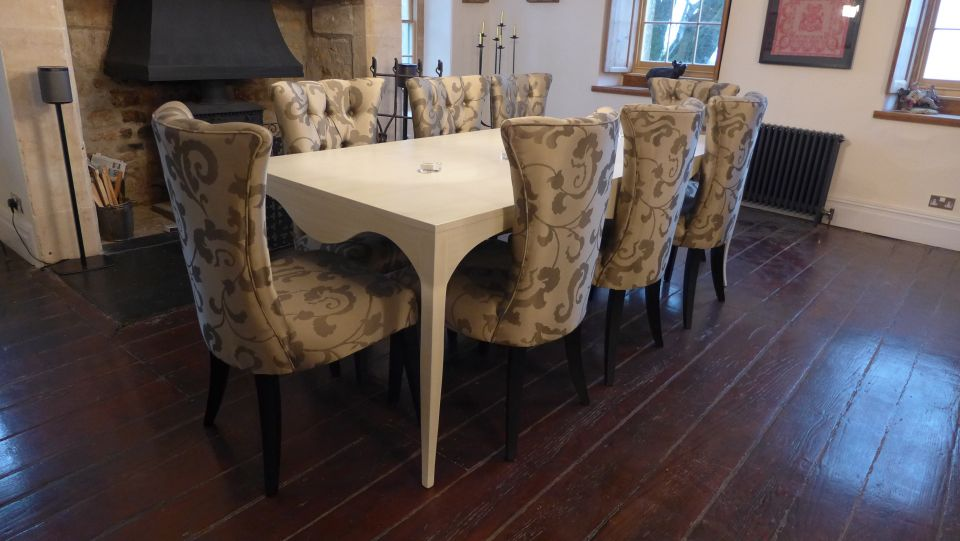 traditional dining table and chairs