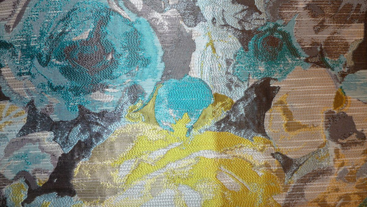 patterned aquamarine and gold fabric