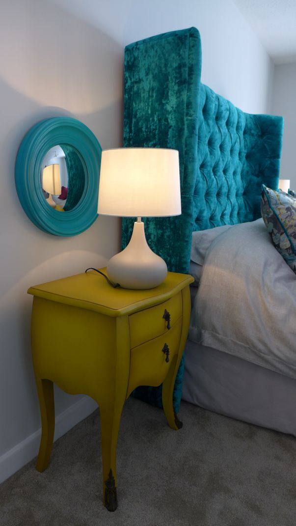 headboard with bombe bedside