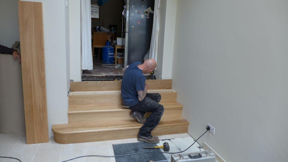 fitting oak steps