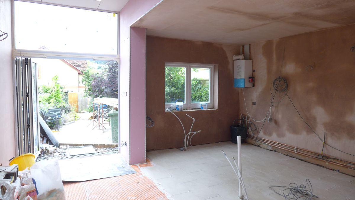 new plastered kitchen walls