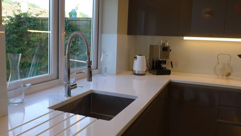 White Sparkle Kitchen Worktops