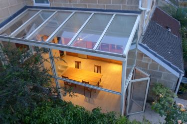 glass end of terrace extension with bifold doors