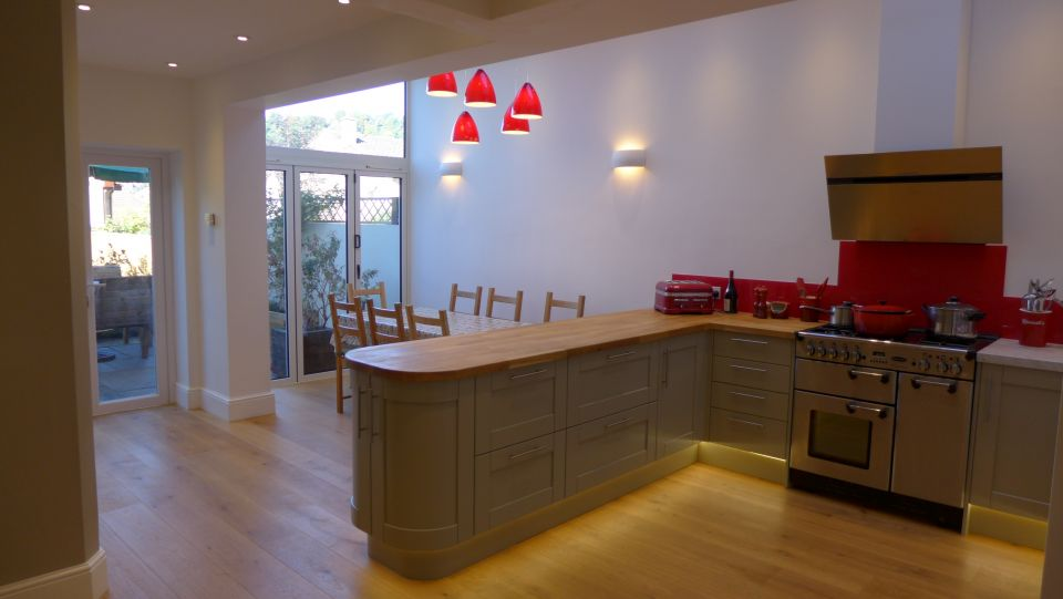 home lighting is a key part of an interior design - here we see a kitchen with plinth lighting