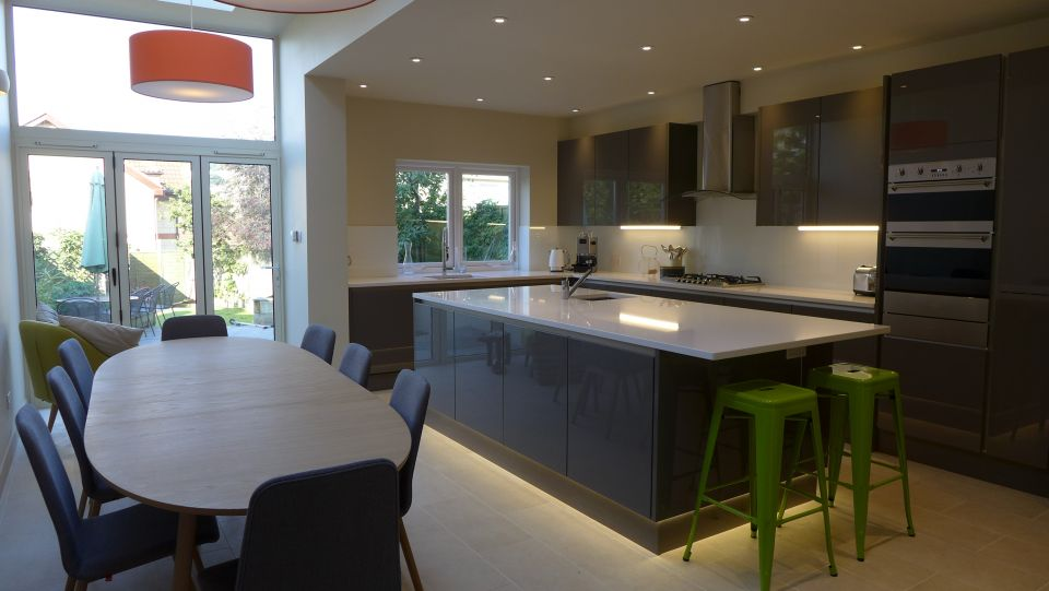 a guide on how to renovate a property - here a side return extension with new kitchen diner in open plan space