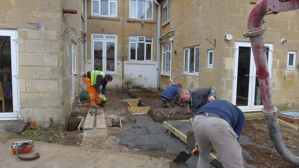 to save time and money the contractors decided on pumped concrete foundations