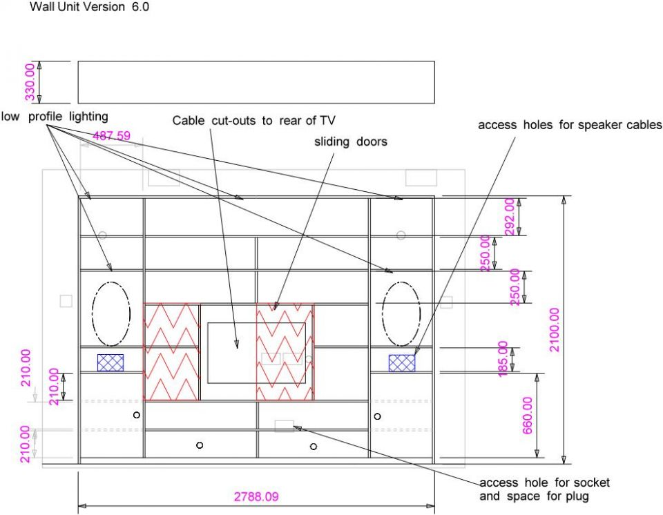 TV wall unit design drawing