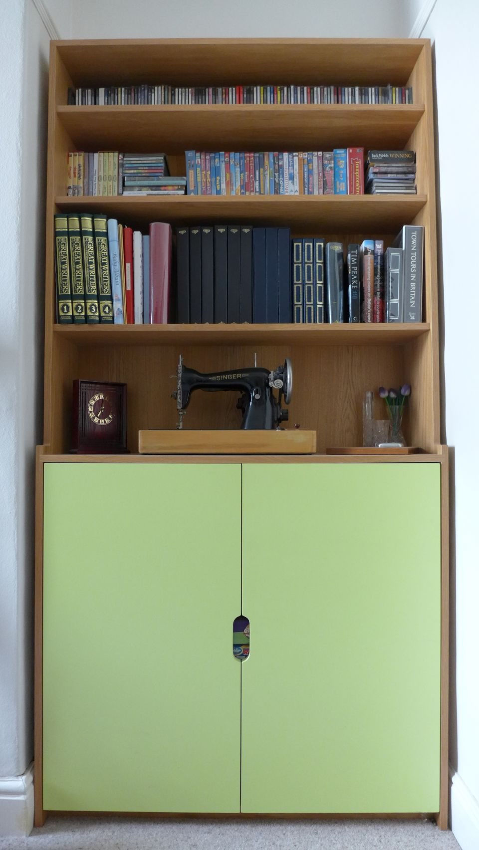 bespoke dresser in oak veneer and lime green eggshell