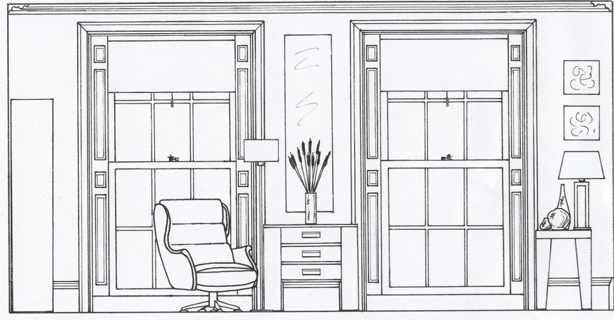 2d elevation drawing of a living room style within - Interior graphic and design standards ...