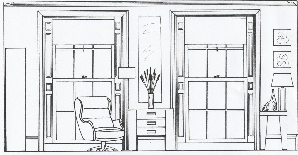 2D Elevation drawing of a living room