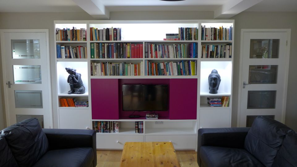 bookshelves with lights