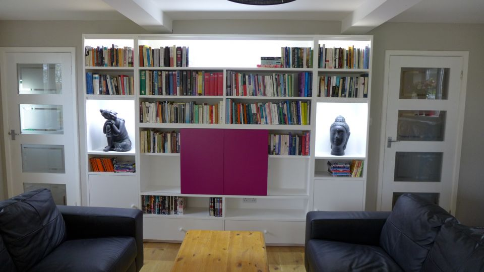 illuminated book shelves with LED lights