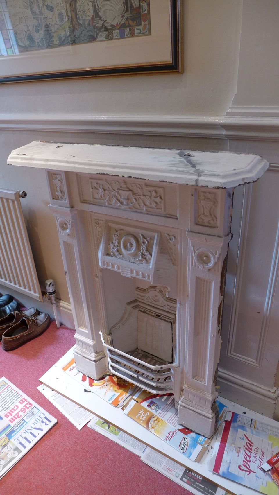 Repaired combination fireplace