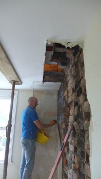 chimney breast removed exposing ceiling void