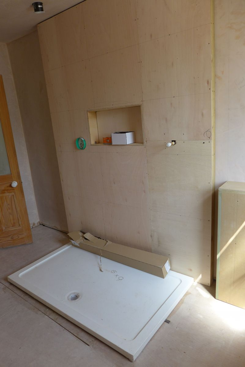 plywood shower partition