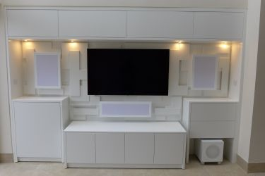 home cinema with feature wall