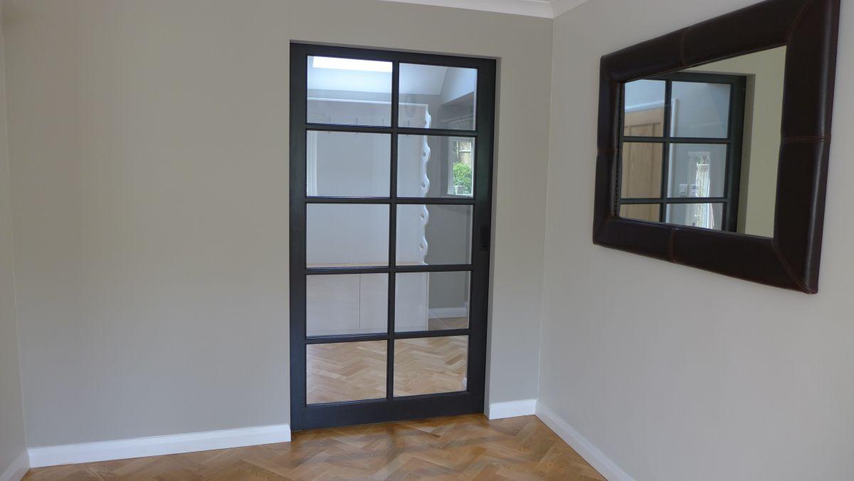 glazed panel pocket door