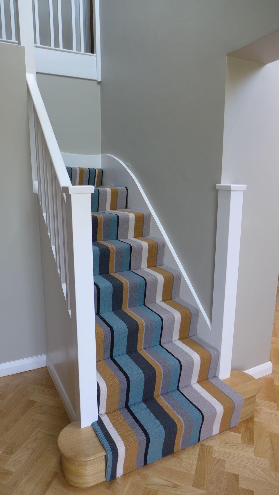 parquet floor to striped stair carpet